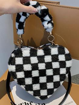Dating Heart Shape Cow Leopard Grid Shoulder Bag Handbag
