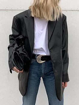 Fashion Notch Collar Black Blazer Coat