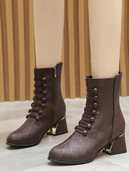 Fall Round Toe Zipper Chunky Martin Boots