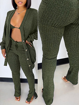Casual Autumn Knitted Three Pieces Pants Set