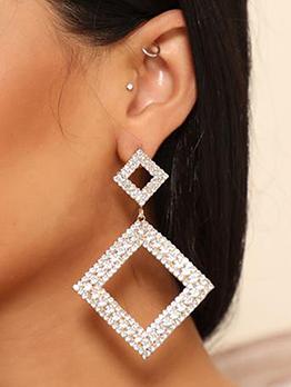 Elegant Rhinestone Double Square Geometry Earrings