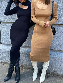 Temperament Casual Solid Mock Neck Knitted Dresses