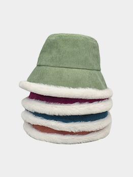 Simple Winter Warm Corduroy Plush Bucket Cap
