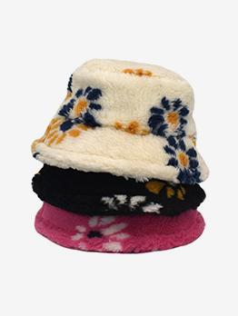 Fashionable Plush Colored Warm Bucket Cap
