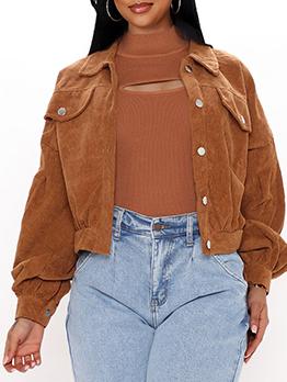Stylish Casual Autumn Corduroy Coat For Women
