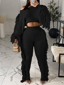 Casual Knitted Long Sleeve Tassel Two Pieces Set