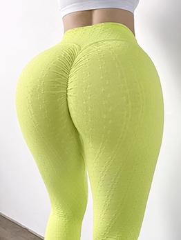 Yoga Solid Elastic Fly Butt Lift Pants