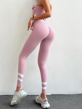 Contrast Color High Waist Leggings For Women
