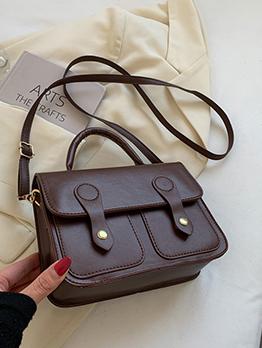 Vintage Solid Black Hasp Women Shoulder Bag