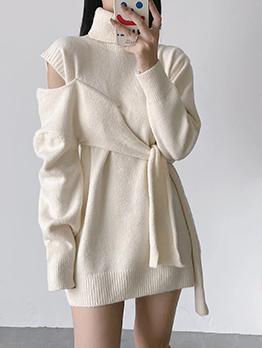 Turtle Neck Cold Shoulder Bandage Design Sweater
