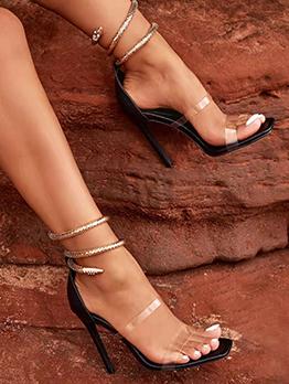 Sexy Transparent Snake Design Heels Sandals