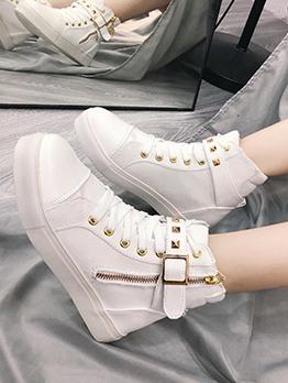 Chic Zipper Patchwork Rivet Canvas Shoes