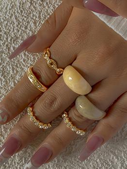 Dressy Rhinestone Acrylic Six-Piece Rings