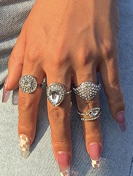 Stylish Full Rhinestone Vintage Four-Piece Rings