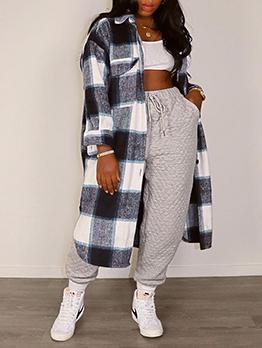 Fall Contrast Color Plaid Long Coat Women
