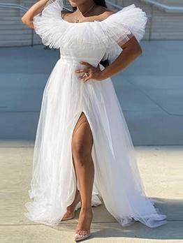 Off Shoulder Gauze Ruffled High Slit Evening Dresses