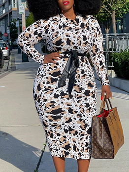 Latest Style Printed Fitted Plus Size Dresses