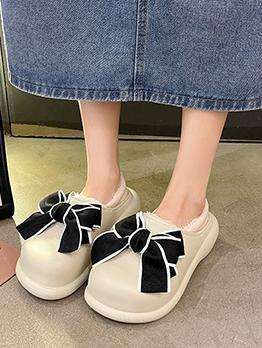 Stylish Korean Style Bowknot Patchwork Cotton Shoes