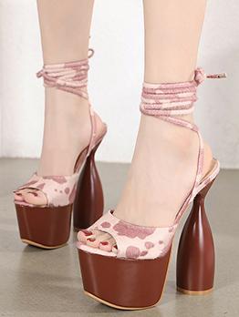 Latest Style Peep Toe Chunky Heel Platform Heels