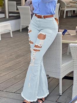 Fashion Trendy Hollow Out Denim Bootcut Jeans