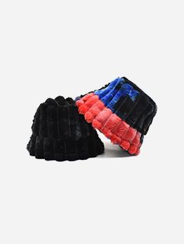 Cute Contrast Color Tie Dye Plush Bucket Cap