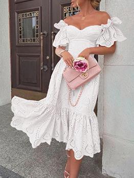 Seductive Pure White Off Shoulder Ruffles Dresses