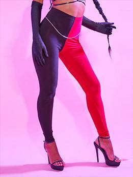 Contrast Color  High Waist Legging Long Pant For Women