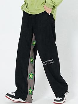 Street Hip Hop Contrast Color Straight Pants Men
