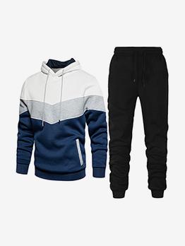 Fashion Sport Contrast Color Hooded Activewear Set