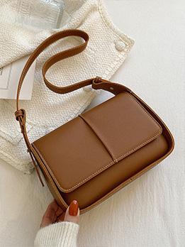 Simple Design Solid Shoulder Bag For Women