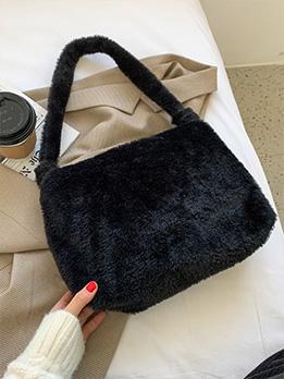 Casual Black Zipper Tote Bag For Women