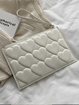 Chic Zipper Heart Embossing Ladies White Clutch Bag