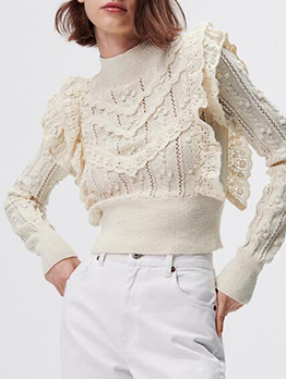 New Hollow Out Patchwork Knitting Sweater