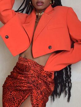 Street Cropped Long Sleeve Blazer For Women