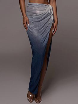 Gradient Color Ruched Slit Long Skirt For Women