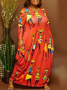 Crew Neck Print Long Sleeve Plus Size Dress