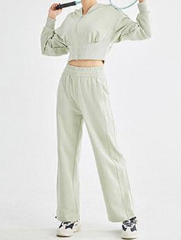 Yoga Solid Zipper Hoodie Coat With Long Pants