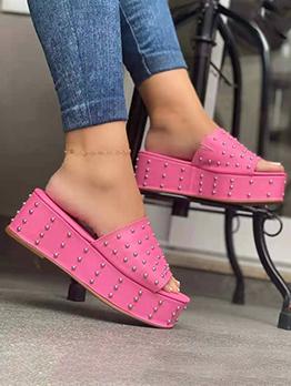 Casual Wedge Rivet Slippers For Women
