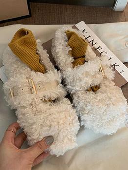 Lambswool Round Toe Plush Flats For Women