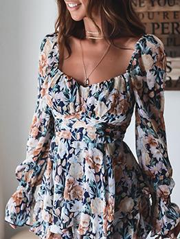New Flower Print Flare Sleeve Sheath Dress