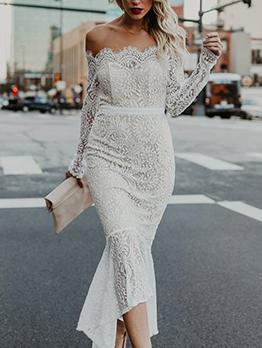 Lace Off Shoulder Temperament White Party Dresses