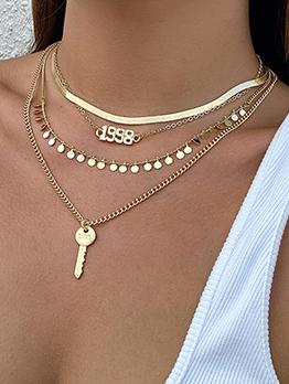 Dressy Number Lock Round Three-Piece Necklace