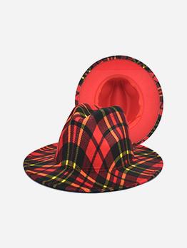 British Style Plaid Woolen Unisex Fedora