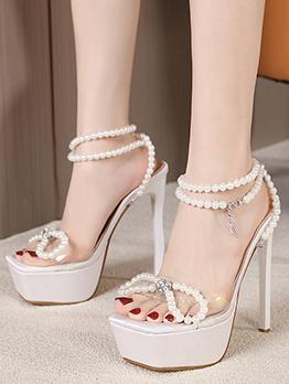 Faux Pearl Square Toe Sexy Platform Heels Sandals