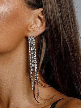 Deft Design Shinny Rhinestone Tassel Long Earring