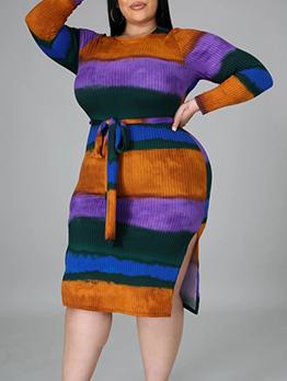 Contrast Color Patchwork Design Plus Size Dresses