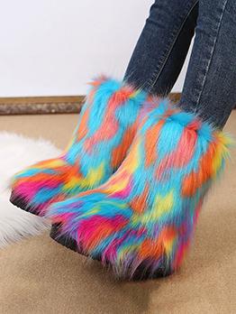 Winter Faux Fur Tie Dye Women Mid Calf Boots