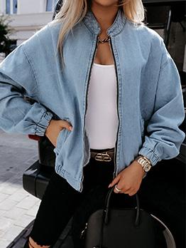 Autumn Long Sleeve Stand Collar Blue Denim Coat