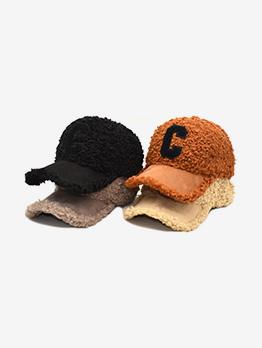 Plush Letter C Lambswool Baseball Cap