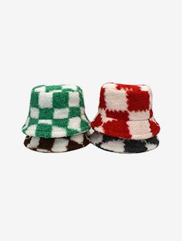 Fashion Color Block Plaid Plush Bucket Cap